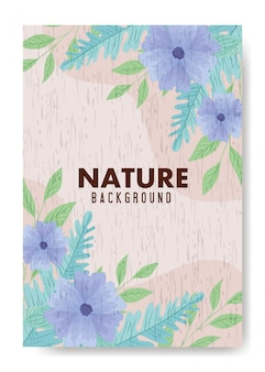 Fond, feuilles de nature tropicale avec des fleurs de couleur pastel