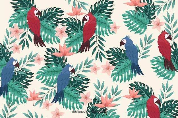 Fond de feuilles et d'oiseaux tropicaux réalistes