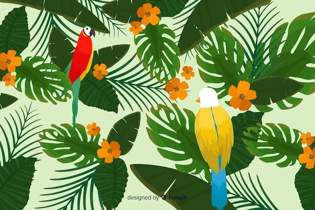 Fond de feuilles et d'oiseaux tropicaux