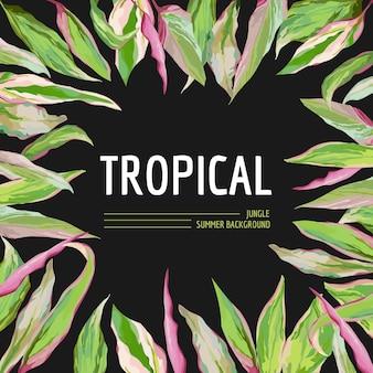 Fond de feuilles de palmiers tropicaux. conception de t-shirt graphique en vecteur