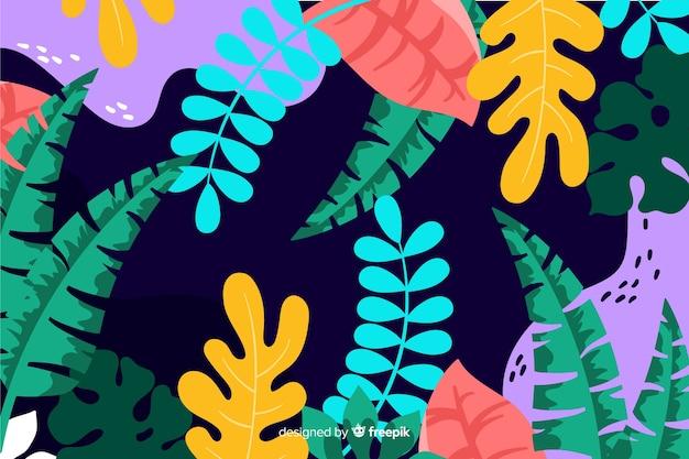 Fond de feuilles et de plantes dessinées à la main