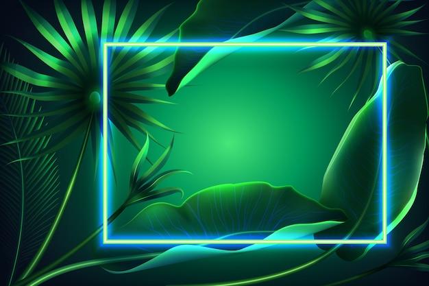 Fond avec des feuilles réalistes avec concept de cadre néon