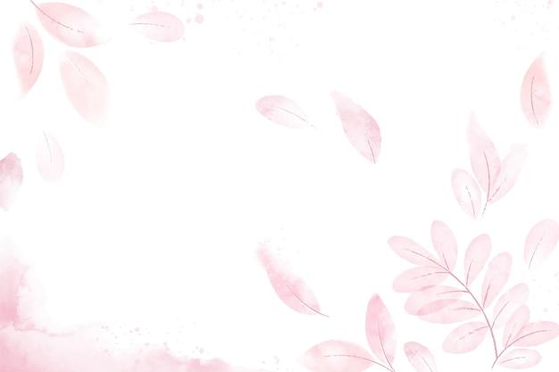 Fond de feuilles roses aquarelle
