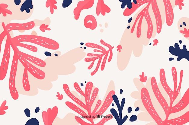 Fond de feuilles roses dessinées à la main