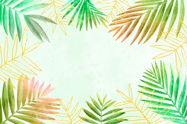 Fond de feuilles de style aquarelle avec une feuille dorée