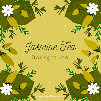 Fond de feuilles de thé avec arôme de jasmin