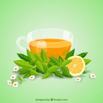 Fond de feuilles de thé avec un design plat