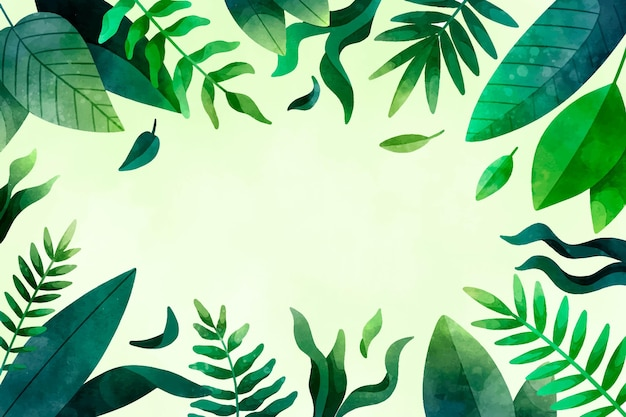 Fond De Feuilles Tropicales Aquarelle Peint à La Main Vecteur gratuit