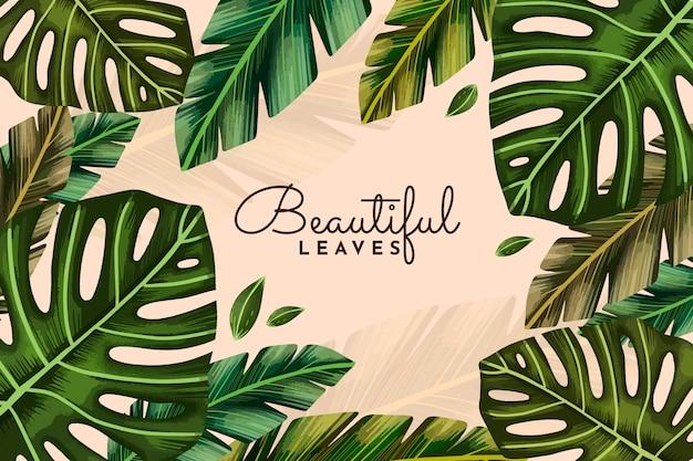 Fond de feuilles tropicales aquarelle peint à la main