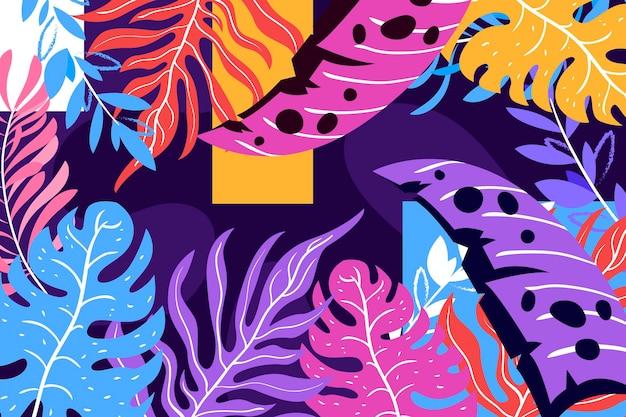 Fond de feuilles tropicales colorées abstraites