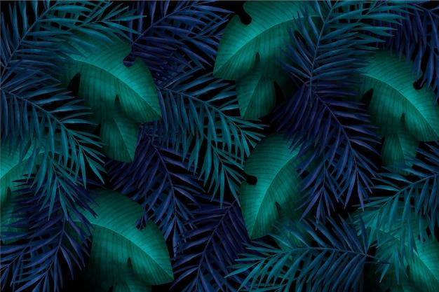 Fond de feuilles tropicales colorées réalistes