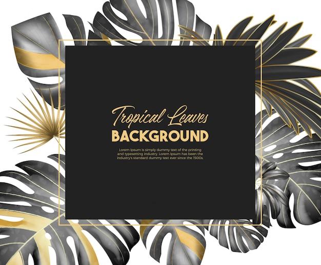 Fond de feuilles tropicales de couleur noire et dorée avec une belle typographie.
