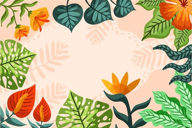 Fond de feuilles tropicales de dessin animé
