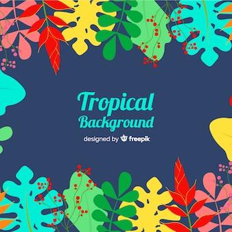 Fond de feuilles tropicales dessinées à la main