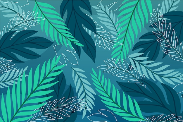 Fond de feuilles tropicales dessinés à la main