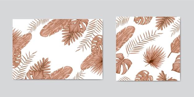 Fond de feuilles tropicales d'été dessinés à la main et ensemble de modèles sans couture