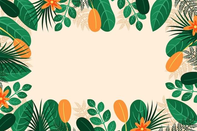 Fond de feuilles tropicales avec des fleurs