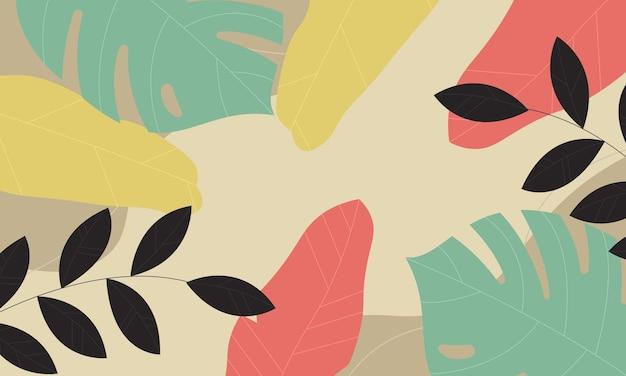 Fond de feuilles tropicales. modèle pour les annonces, affiches, bannières.