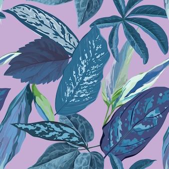 Fond de feuilles tropicales, motif floral botanique sans couture pour couverture, impression textile et tissu en illustration vectorielle