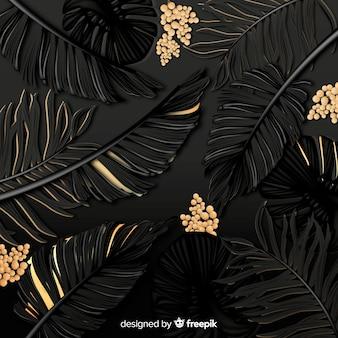 Fond de feuilles tropicales noires et dorées