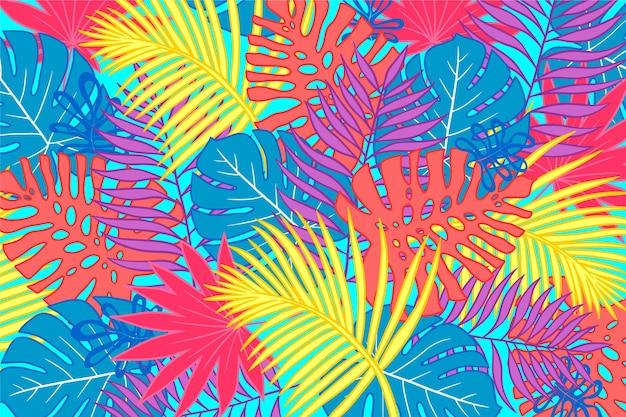 Fond de feuilles tropicales pour zoom