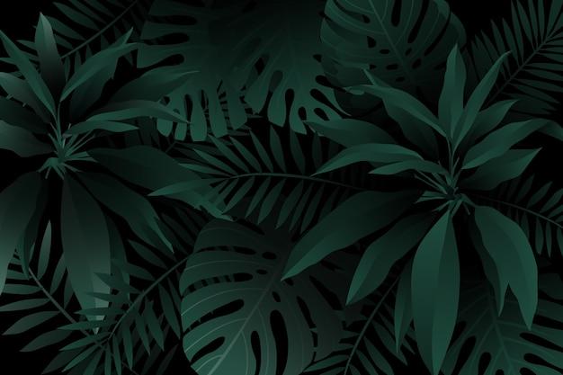 Fond de feuilles tropicales réalistes vert foncé monochrome