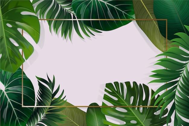 Fond de feuilles tropicales réalistes