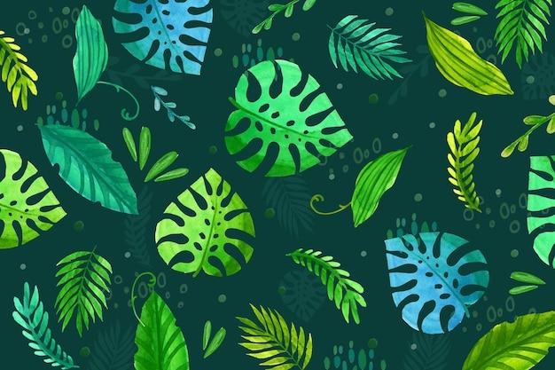 Fond de feuilles tropicales répétées