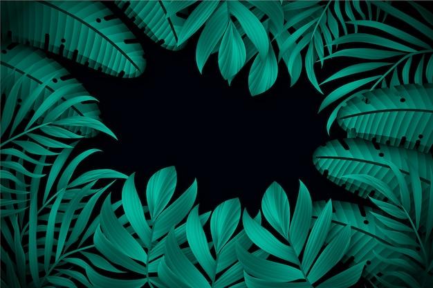 Fond de feuilles tropicales sombres réalistes