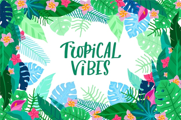Fond avec des feuilles tropicales
