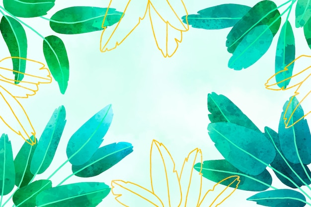 Fond de feuilles vertes aquarelle