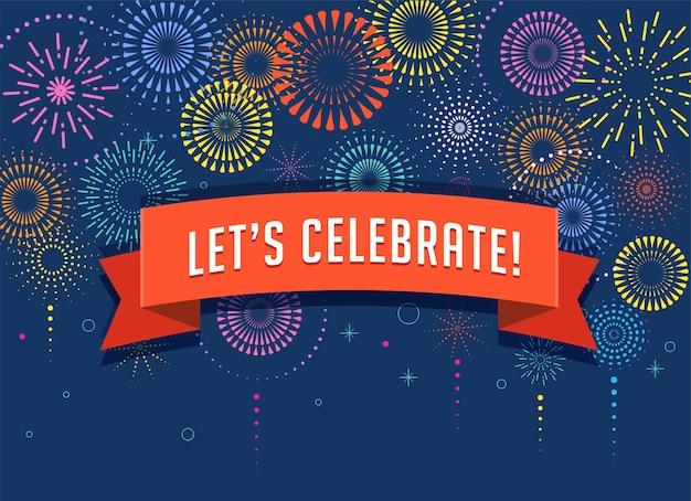Fond de feux d'artifice et de célébration, gagnant, affiche de la victoire, bannière