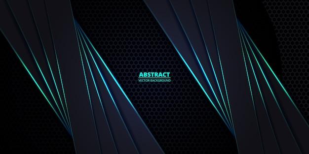 Fond de fibre de carbone hexagonal foncé et turquoise avec des lignes lumineuses turquoise et des reflets.