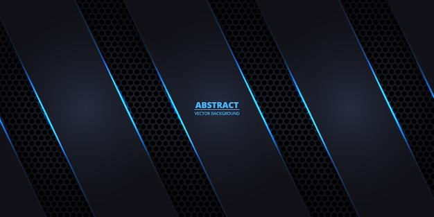 Fond en fibre de carbone hexagonale sombre avec des lignes lumineuses bleues et des reflets.