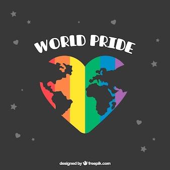 Fond de la fierté mondiale avec la carte du monde en coeur