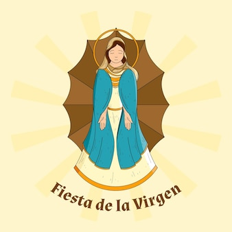Fond de fiesta de la virgen dessiné à la main