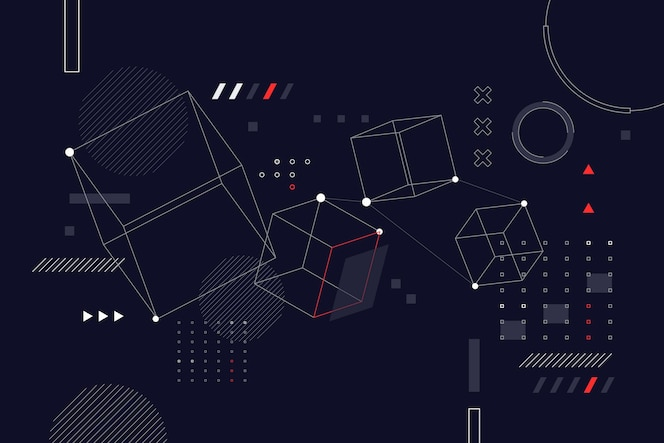 Fond filaire abstrait design plat