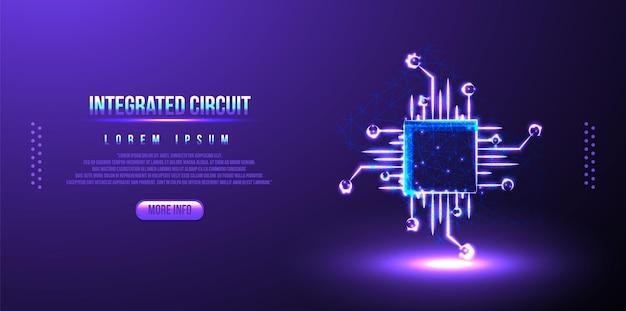 Fond filaire polygonal low poly de circuit intégré
