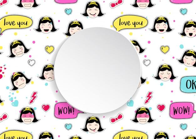 Fond de fille avec des avatars emoji anime.