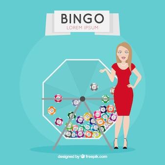 Fond d'une fille élégante avec des balles de bingo