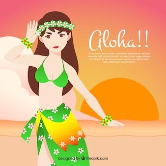 Fond d'une fille hawaïenne sur la plage au coucher du soleil
