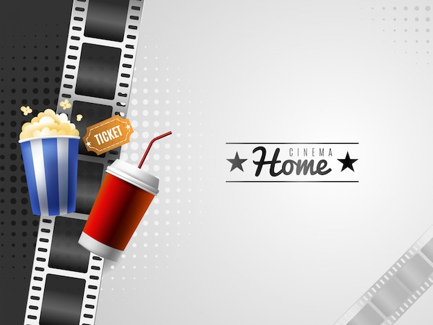 Fond de film à la maison avec des éléments de pop-corn et de boissons