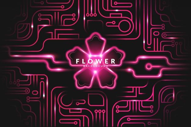 Fond de fleur au néon