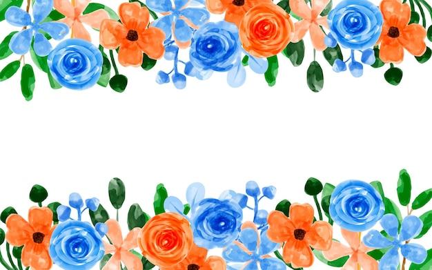 Fond de fleur bleu orange avec aquarelle