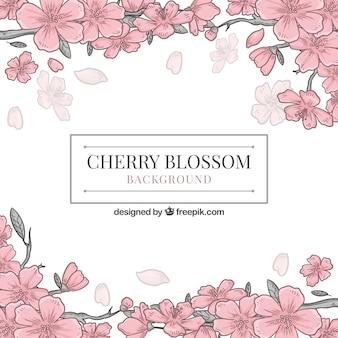 Fond de fleur de cerisier dans un style dessiné à la main