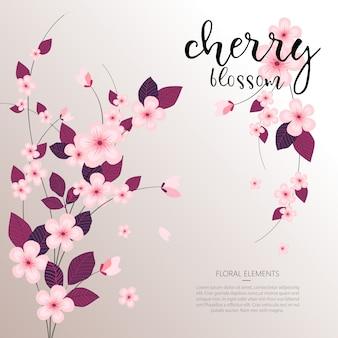 Fond de fleur de cerisier floral vecteur printemps tropical