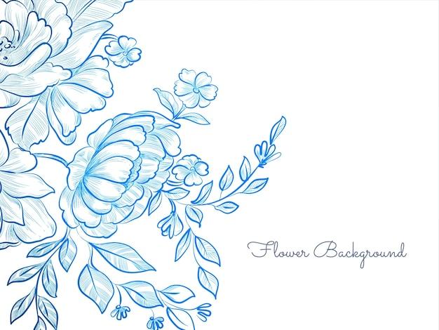 Fond de fleur dessiné main de couleur bleue