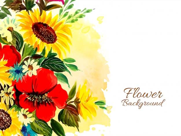 Fond de fleur drwan main abstraite belle