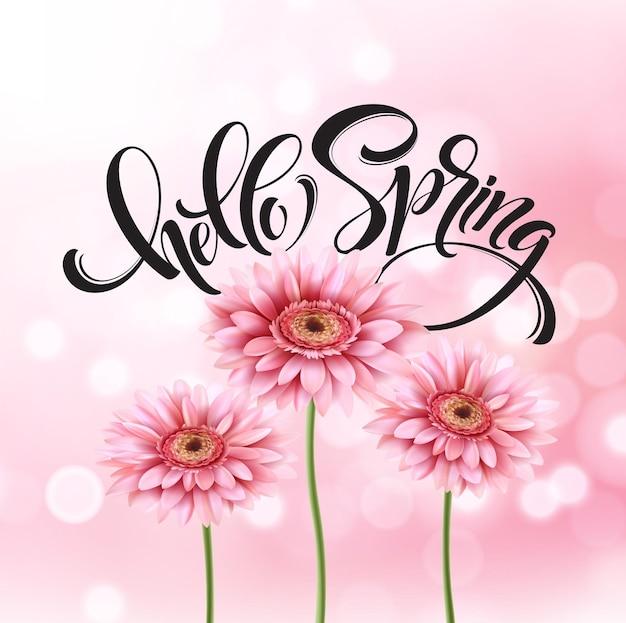 Fond de fleur de gerbera et lettrage de printemps. illustration