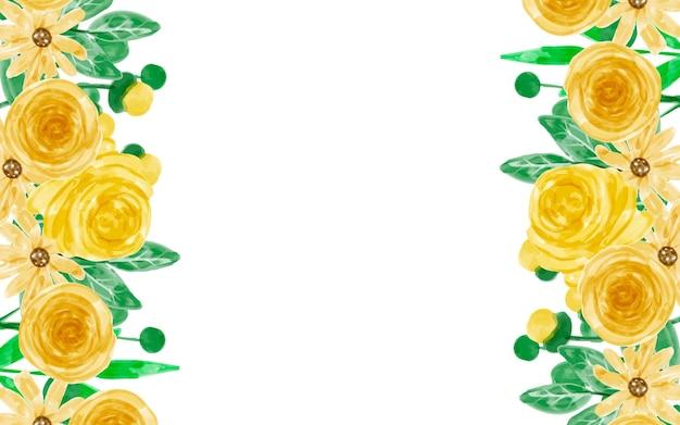 Fond de fleur jaune à l'aquarelle